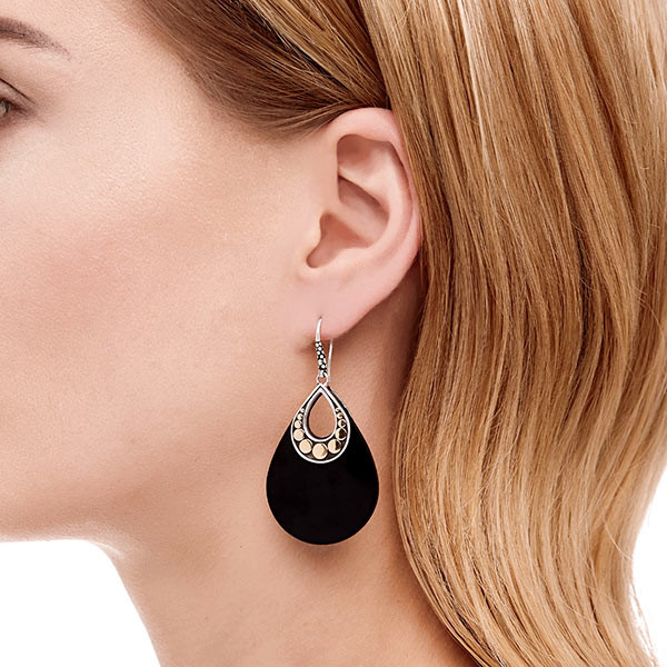 John Hardy Dot Carved Black Onyx Earrings on Model