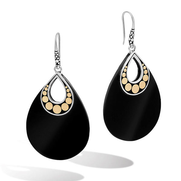 John Hardy Dot Carved Black Onyx Earrings