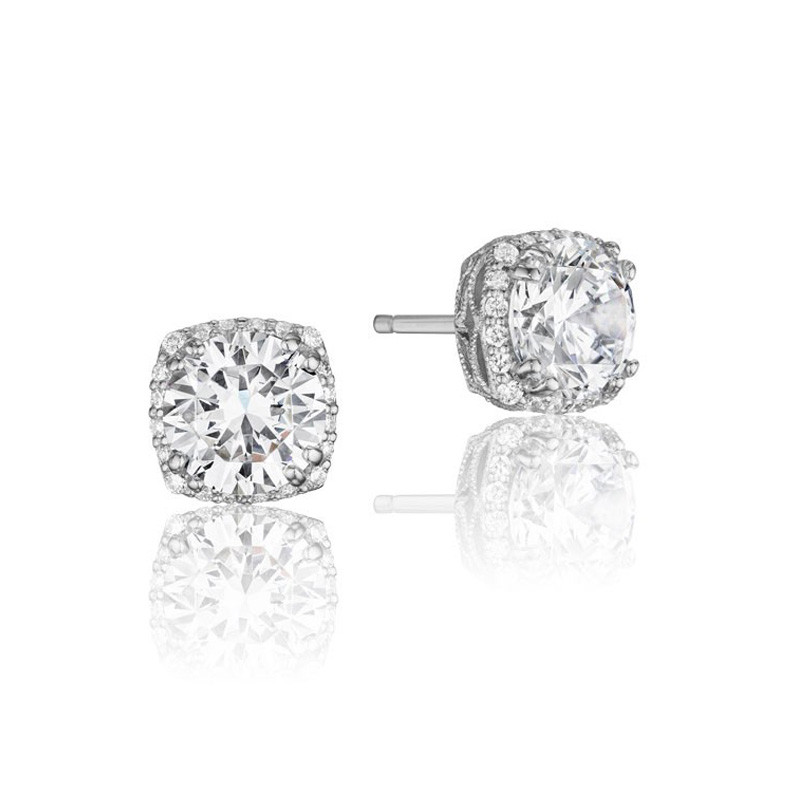 Tacori White Gold .75ctw Diamond Dantella Stud Earrings