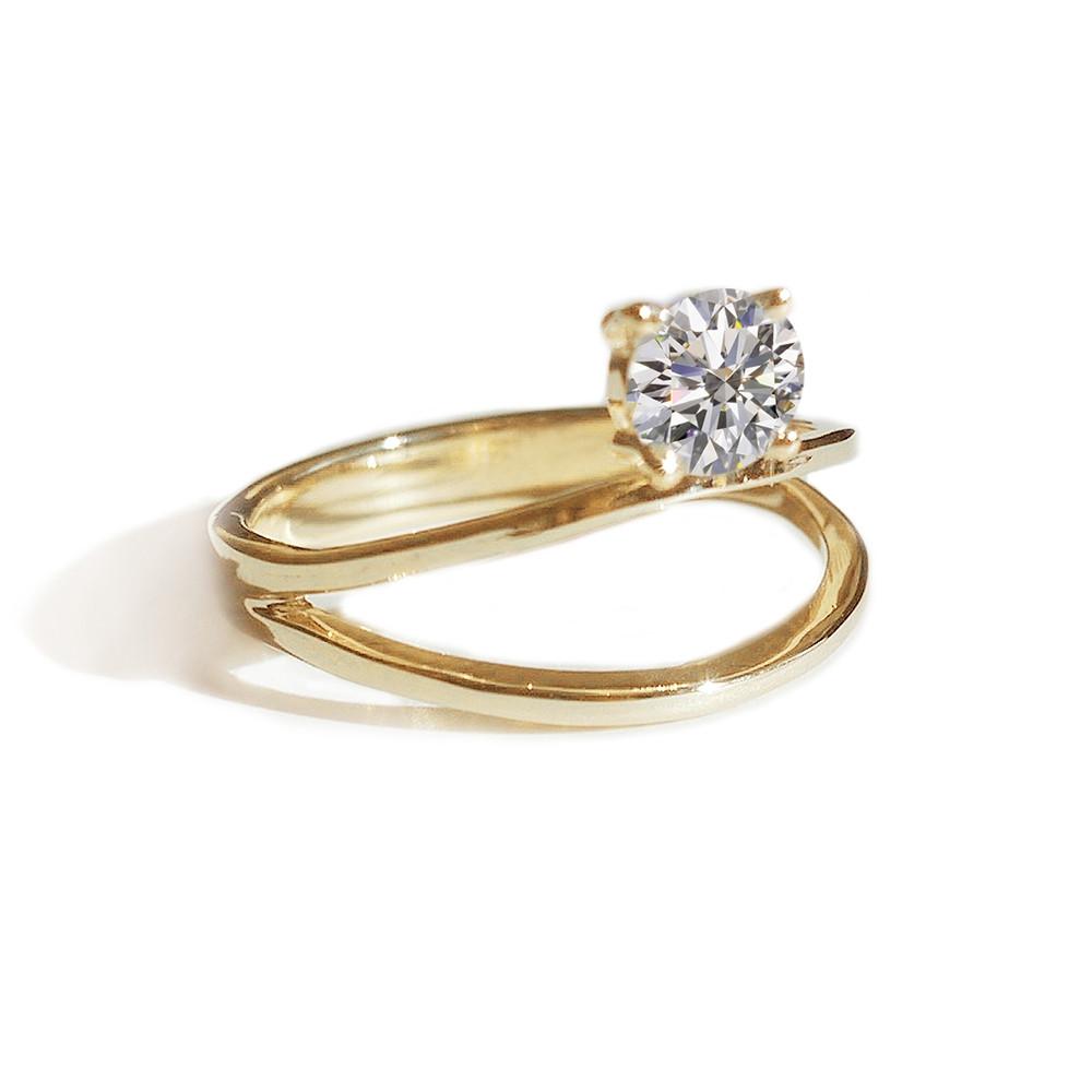 KATKIM Floating Diamond Double Band Engagement Ring Setting