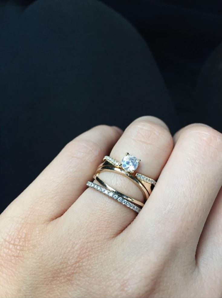 KATKIM Floating Diamond Double Band Engagement Ring Setting on Model