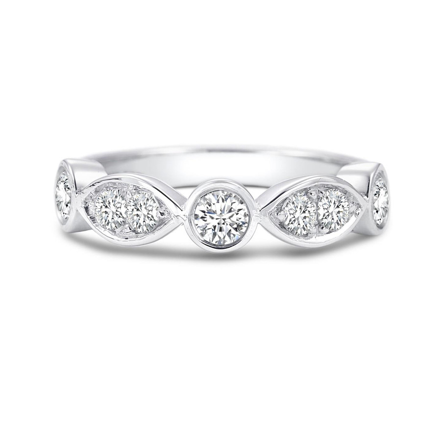 Forevermark Round & Marquise Diamond White Gold Tribute Ring