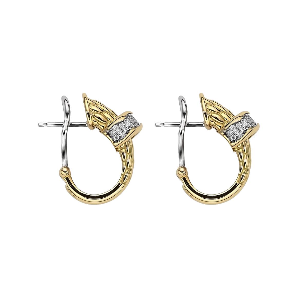 Fope Diamond Pavé Huggie Earrings in Yellow Gold side image