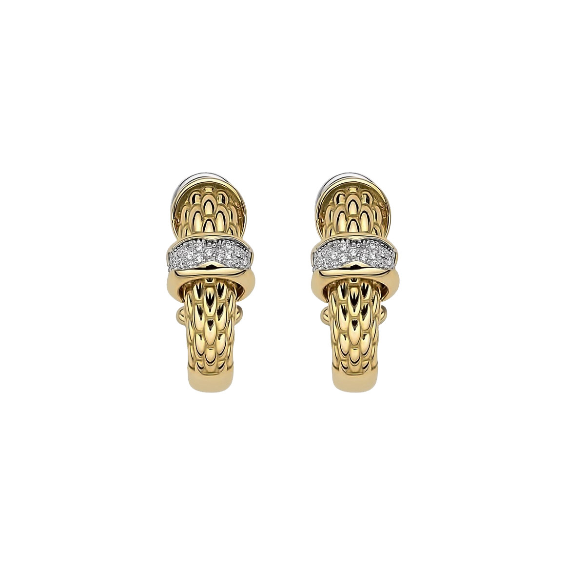 Fope Diamond Pavé Huggie Earrings in Yellow Gold front image