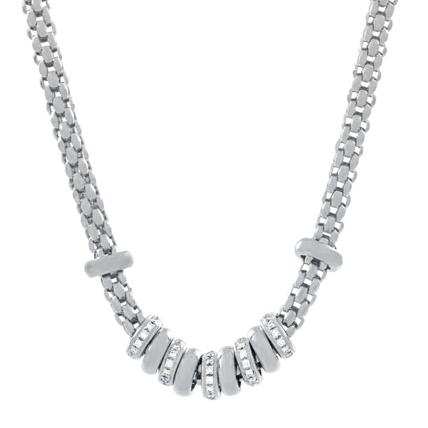 Fope Flex It Beaded Necklace with Pave Rondells