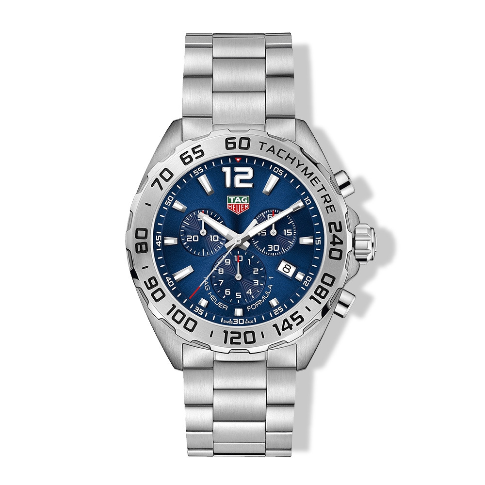 Tag Heuer Formula 1 Stainless Steel 43mm Chronograph Blue Sunray Dial Watch
