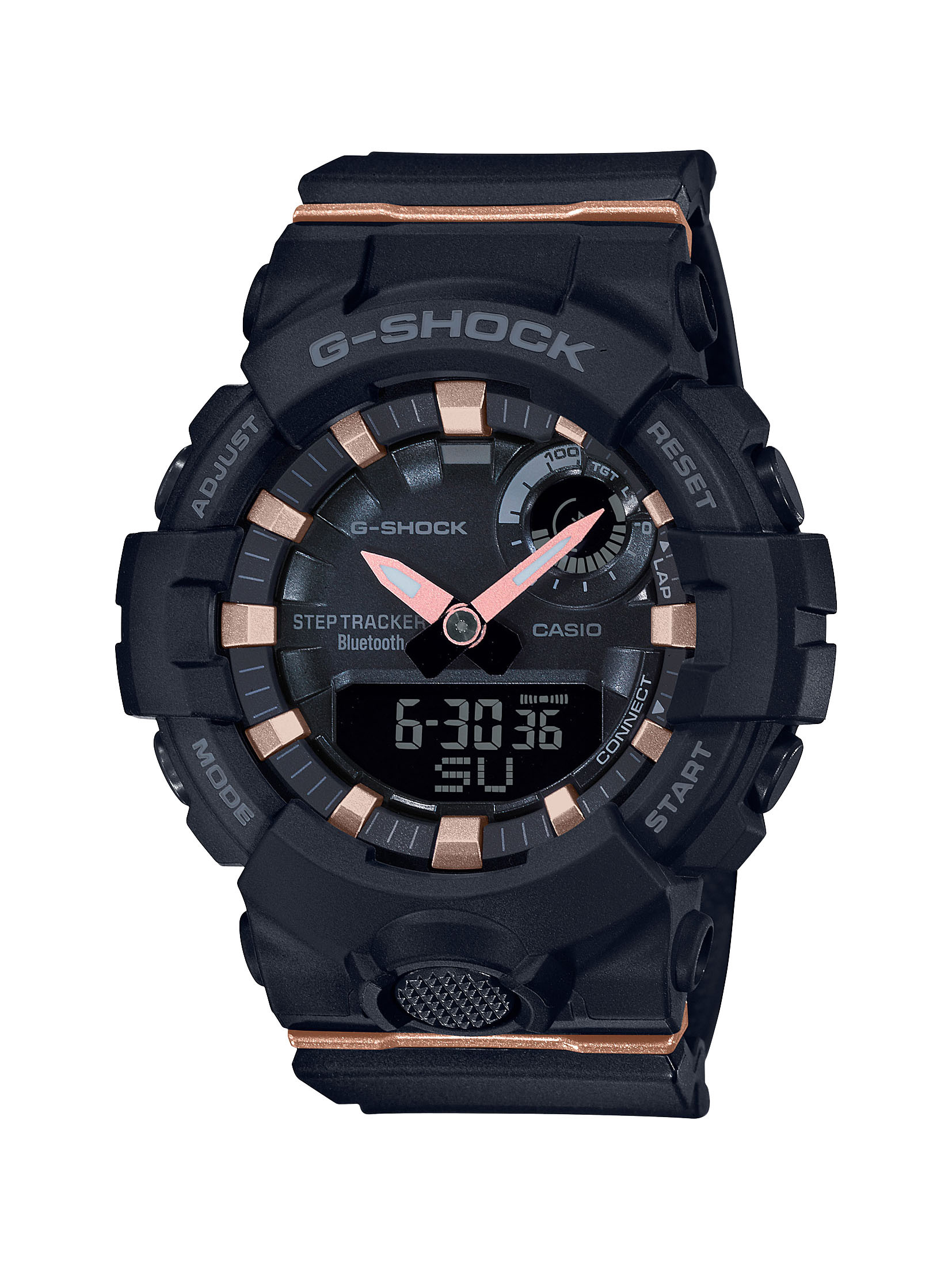 G-SHOCK S-Series Analog Digital Black Watch with Rose Gold