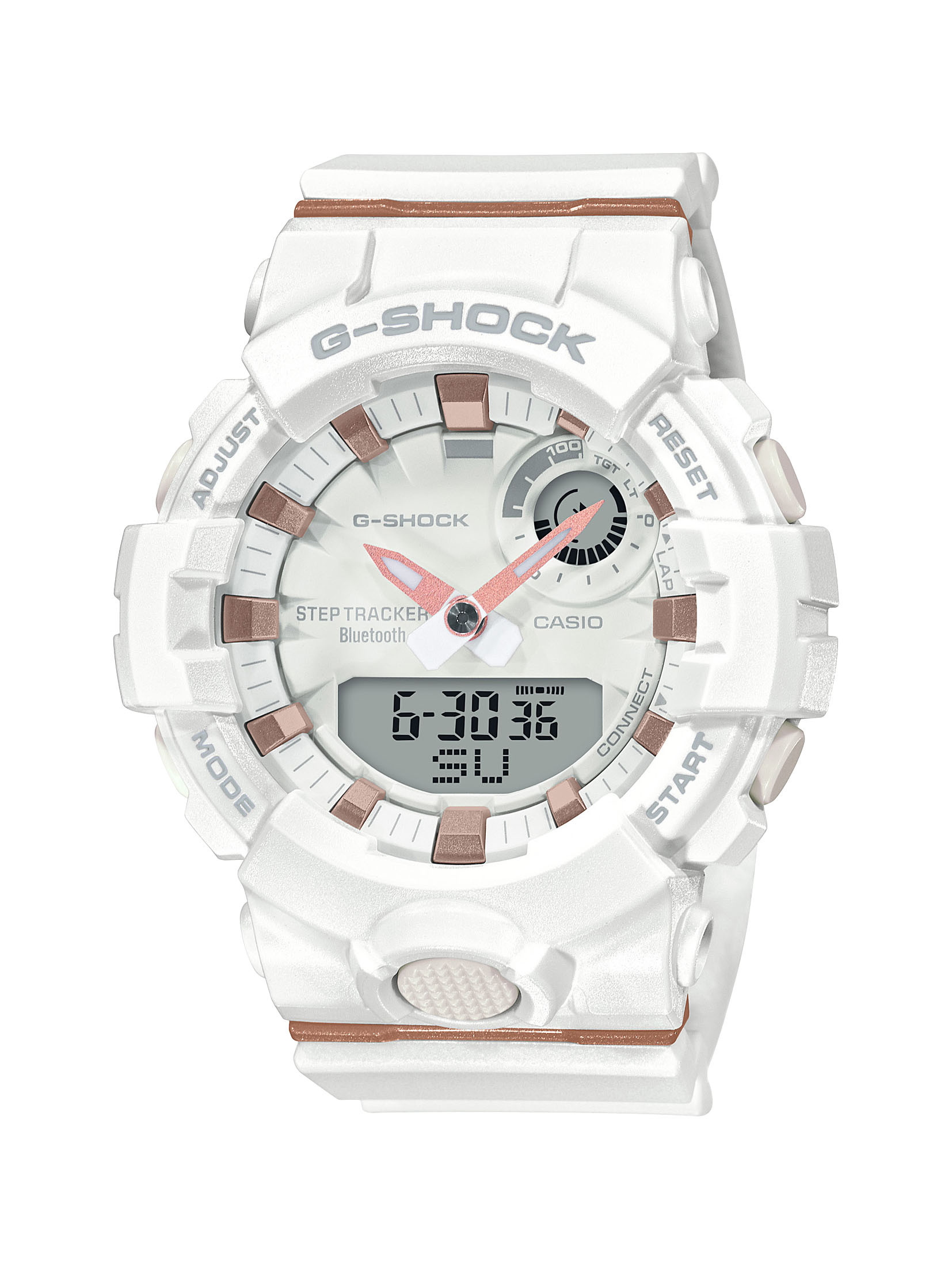 G-SHOCK S-Series Analog Digital White Watch with Rose Gold