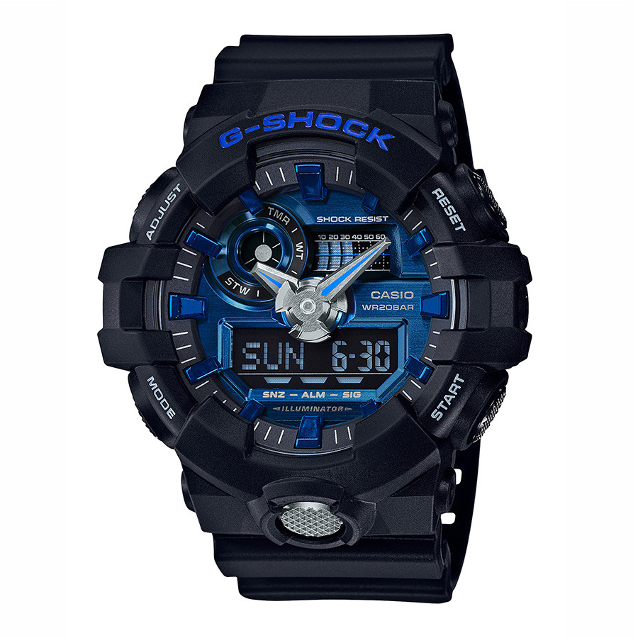 Casio Oversized Black Resin & Blue Dial G-Shock Watch