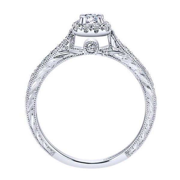 Gabriel&Co White Gold Halo Engagement Ring Side View