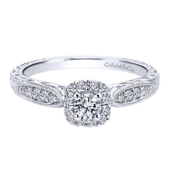 Gabriel&Co White Gold Halo Engagement Ring