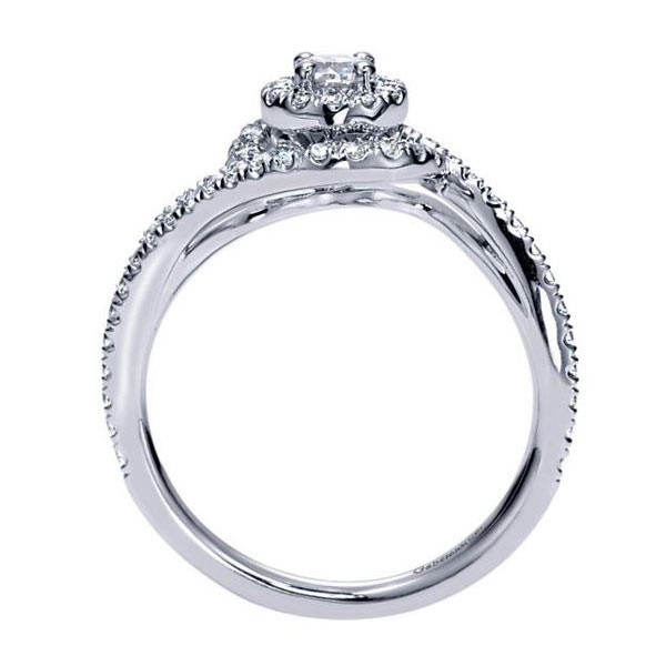 Gabriel&Co White Gold Double Halo Engagement Ring Side View