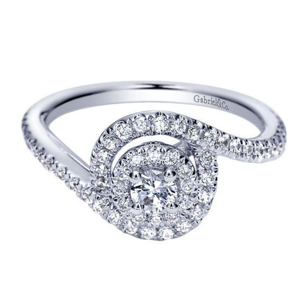 Gabriel&Co White Gold Double Halo Engagement Ring