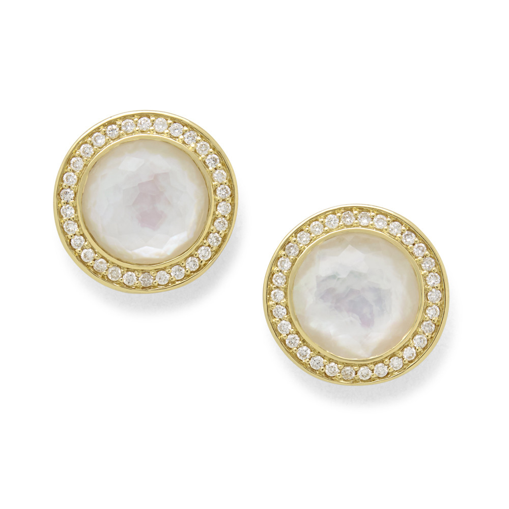 IPPOLITA 18K Gold Lollipop Mother of Pearl Stud Earrings with Diamonds