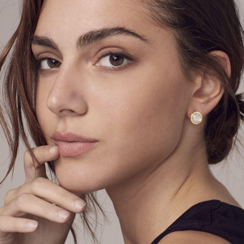 IPPOLITA 18K Gold Lollipop Mother of Pearl Stud Earrings with Diamonds on model