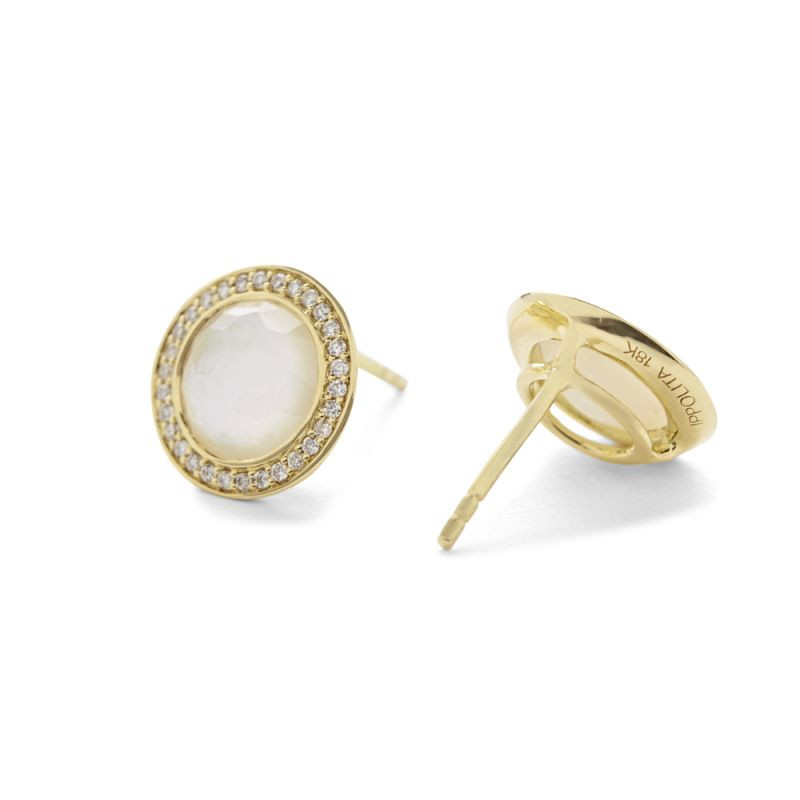 IPPOLITA 18K Gold Lollipop Mother of Pearl Stud Earrings with Diamonds side view