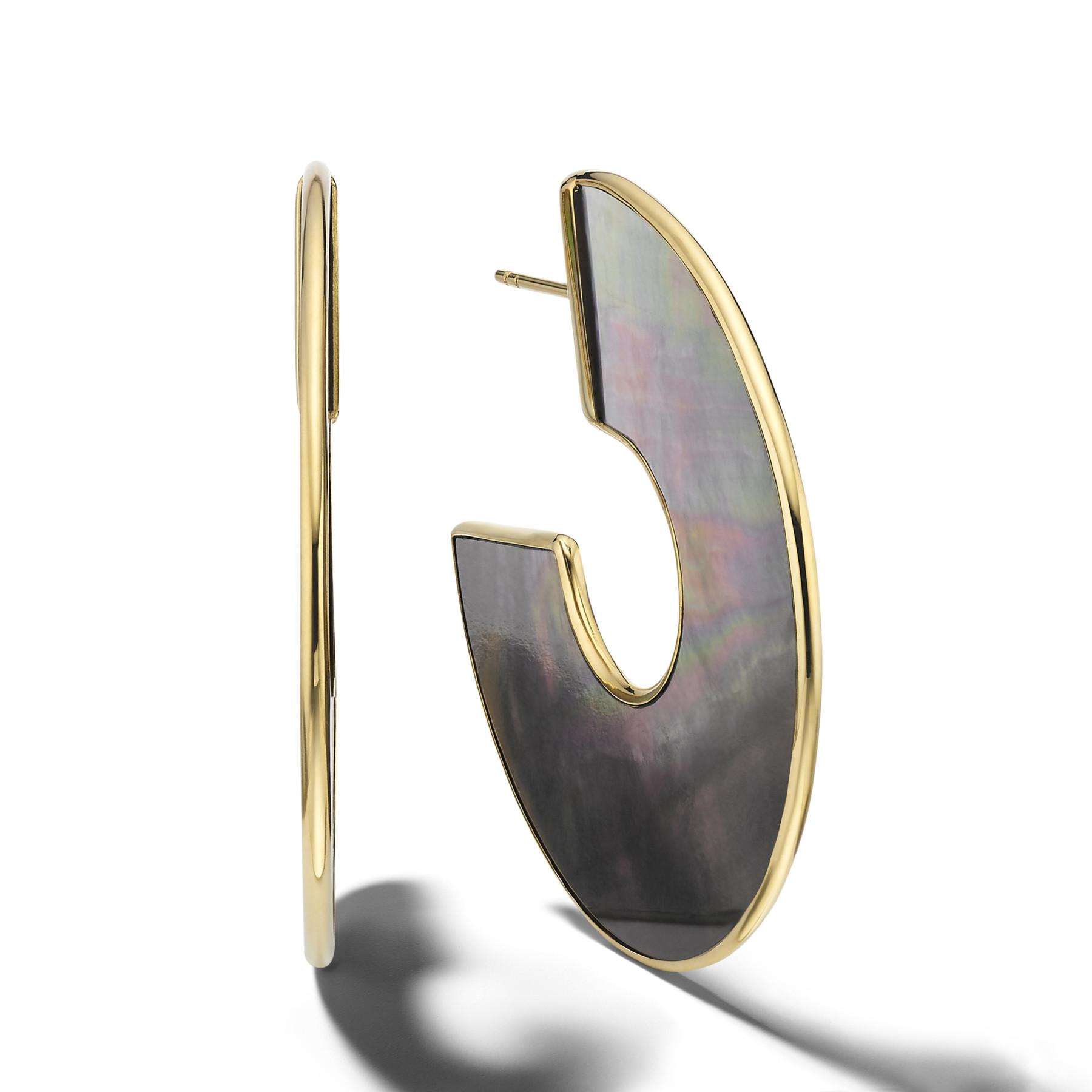 Ippolita Rock Candy Black Shell Earrings in Yellow Gold