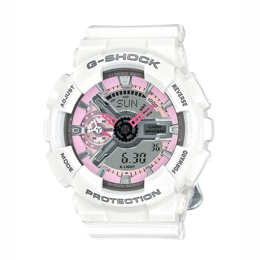 Casio G-Shock White Resin Pink Accent Dial S Series Watch