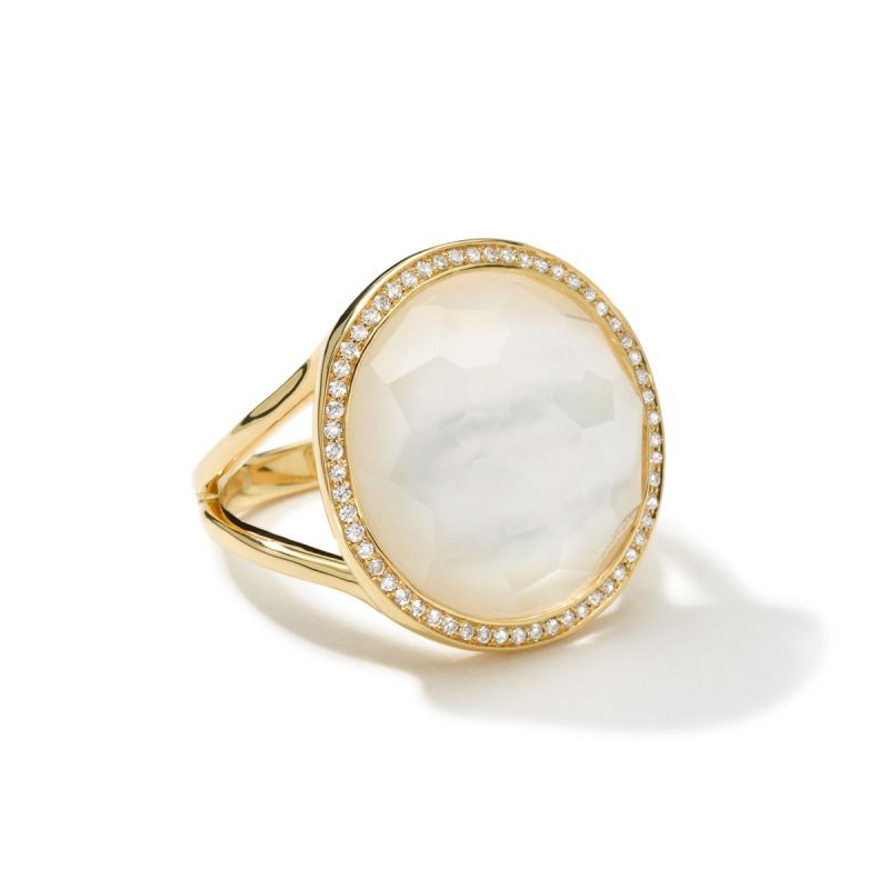 IPPOLITA 18K Gold Lollipop Mother of Pearl Ring with Diamonds