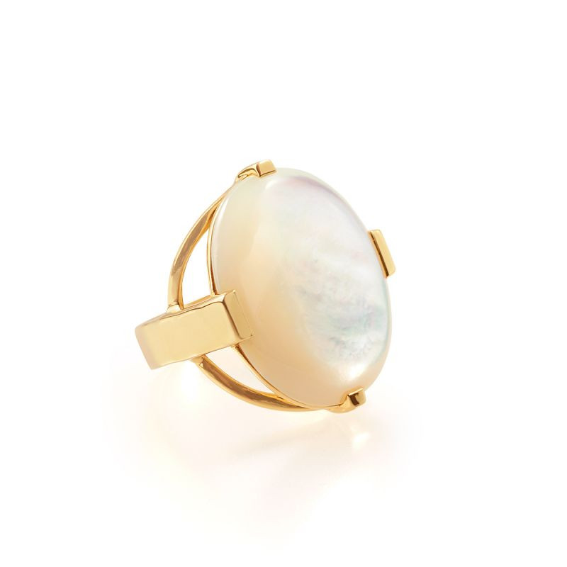 IPPOLITA 18K Gold Polished Rock Candy Mother of Pearl Ring