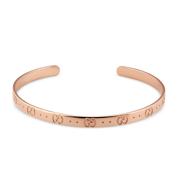 Gucci Icon Rose Gold Slim GG Motif Bangle