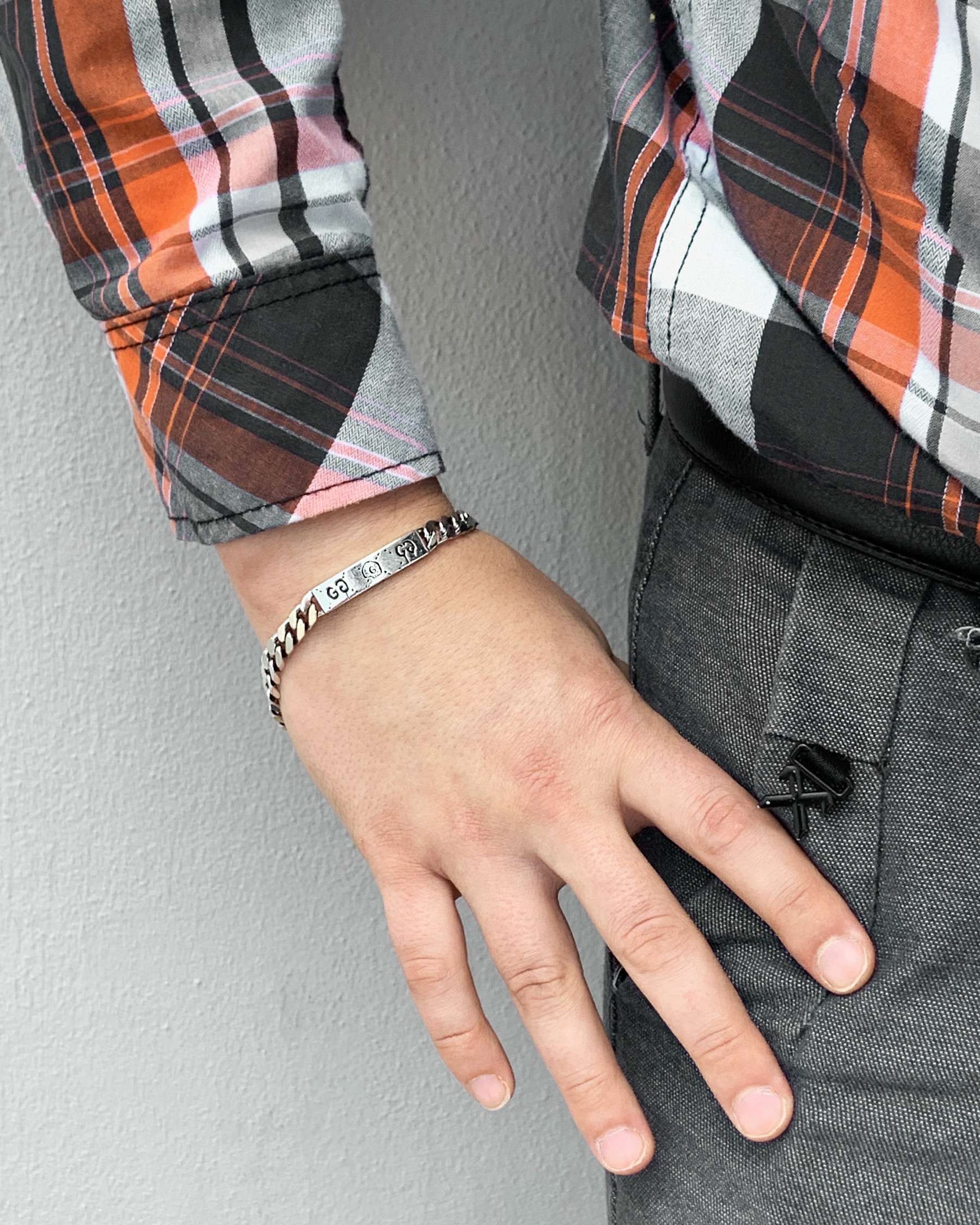 Gucci Ghost Station Extra Small Silver Link ID Bracelet Model