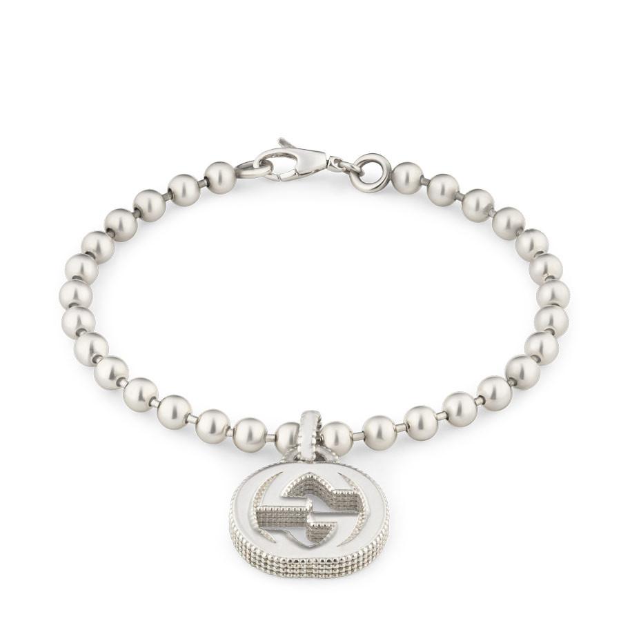 Gucci Textured Silver Charm Interlocking G Bracelet