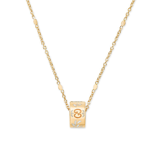 Gucci Icon Blossom Yellow Gold & White Enamel Necklace
