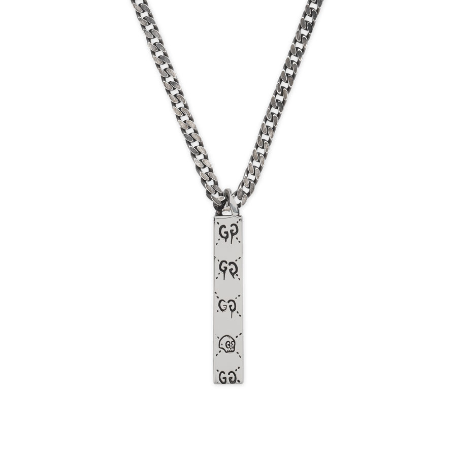 Gucci Silver Long Drop Pendant Ghost Necklace