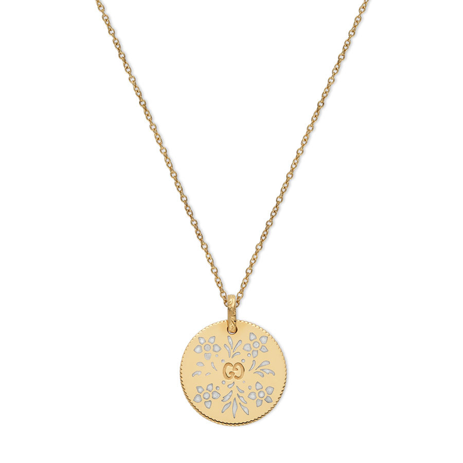 Gucci Yellow Gold Enamel Blossoms Circle Pendant Icon Necklace