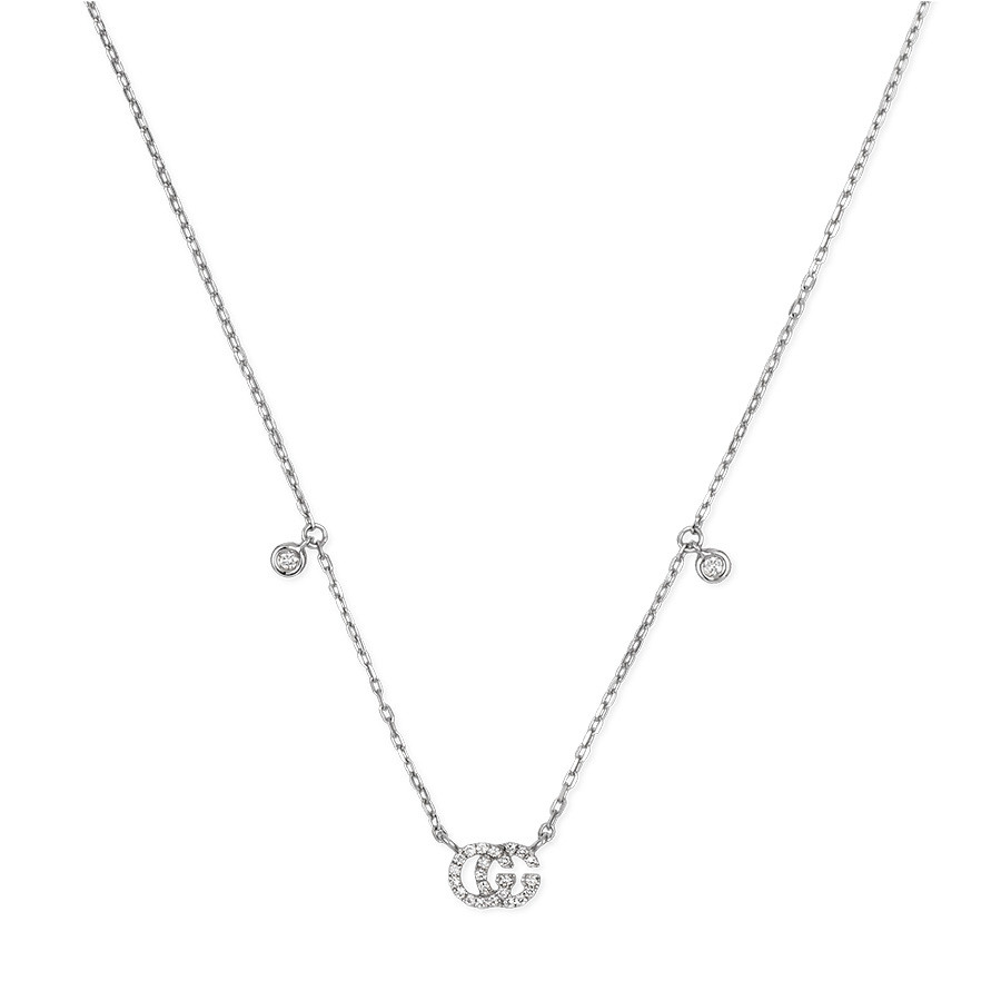 Gucci Small White Gold Diamond Station Pendant Running G Necklace Close Up