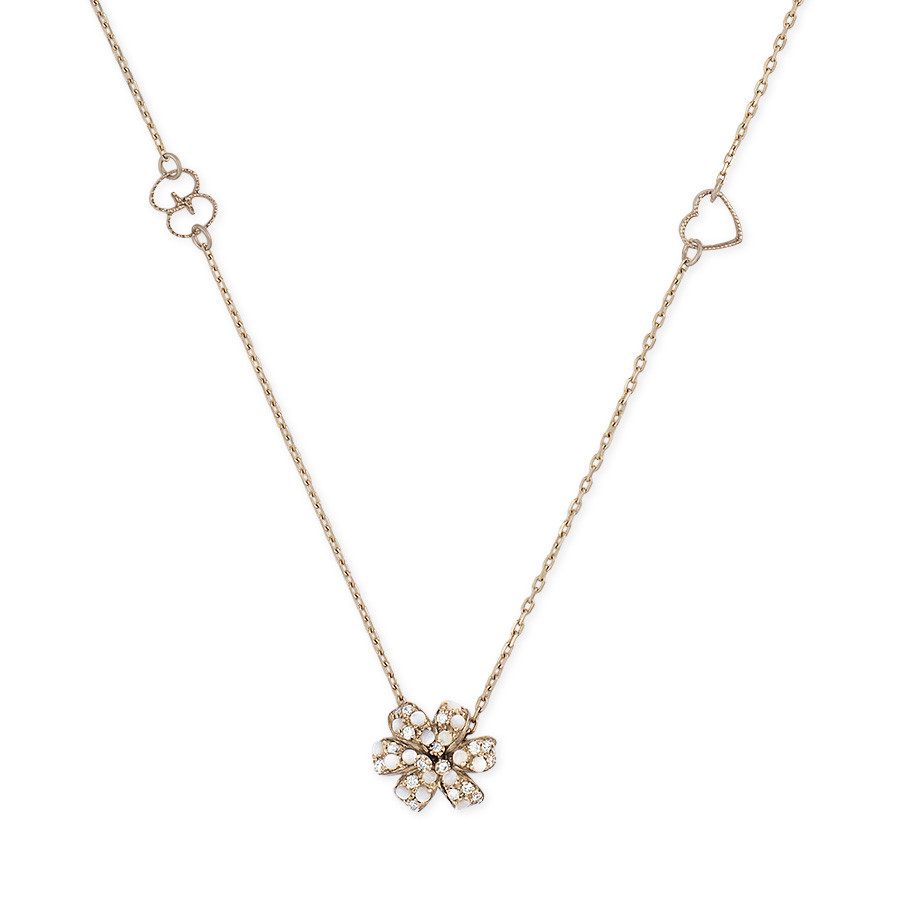 Gucci Diamond & Mother of Pearl Pendant Flora Necklace Close Up