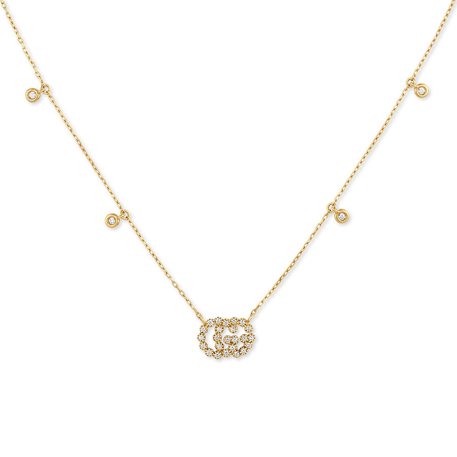 Gucci Running G Diamond Station Yellow Gold Pendant Necklace