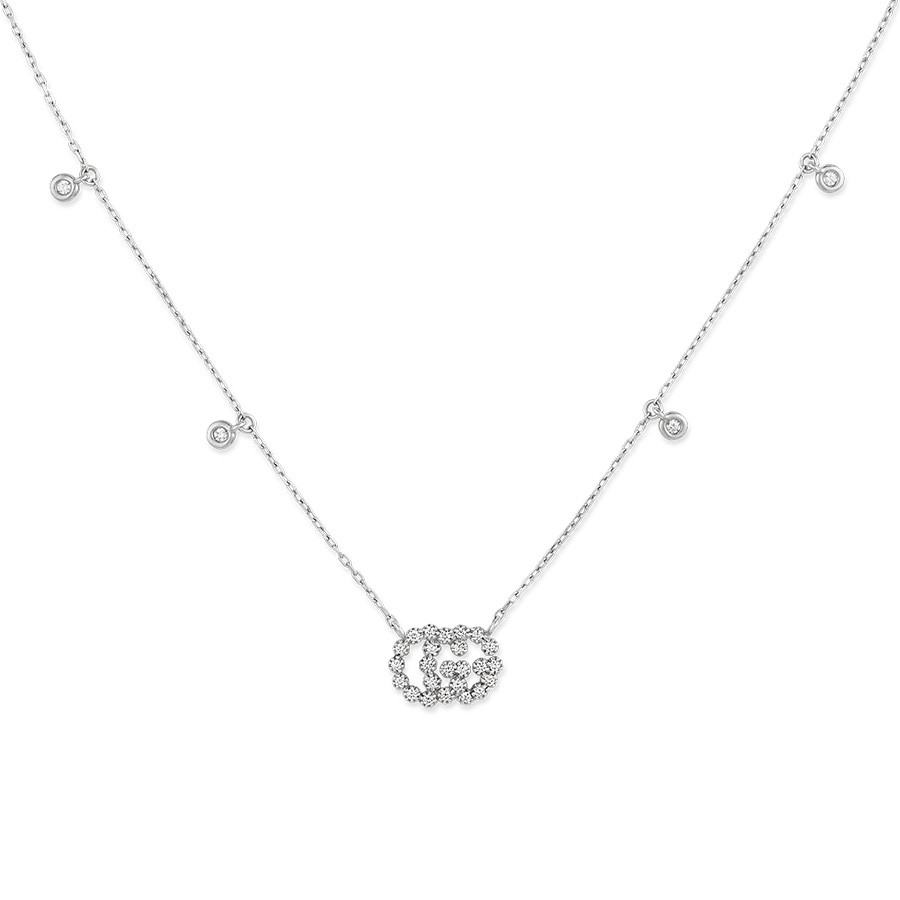 Gucci White Gold Diamond Station Pendant Running G Necklace Close Up