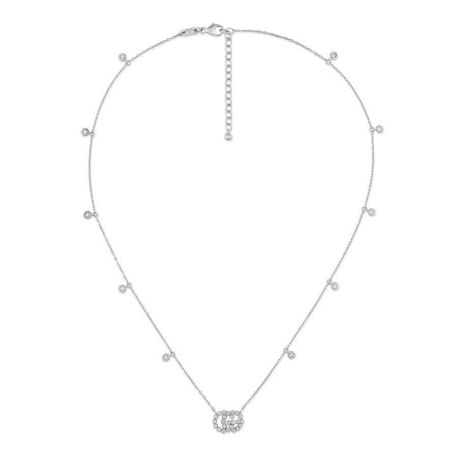 Gucci White Gold Diamond Station Pendant Running G Necklace Full View