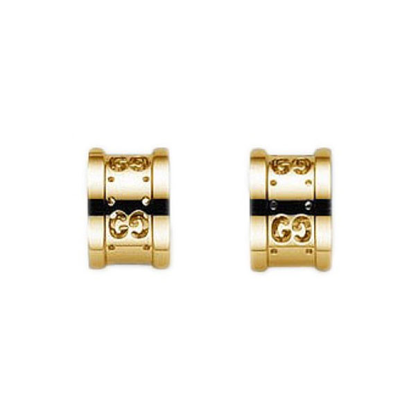 Gucci Icon Yellow Gold Motif Half Circle Stud Earrings