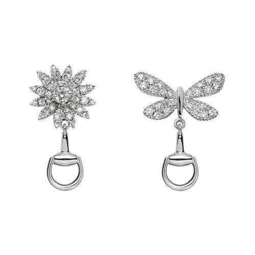Gucci Flora Diamond Flower & Butterfly Earrings