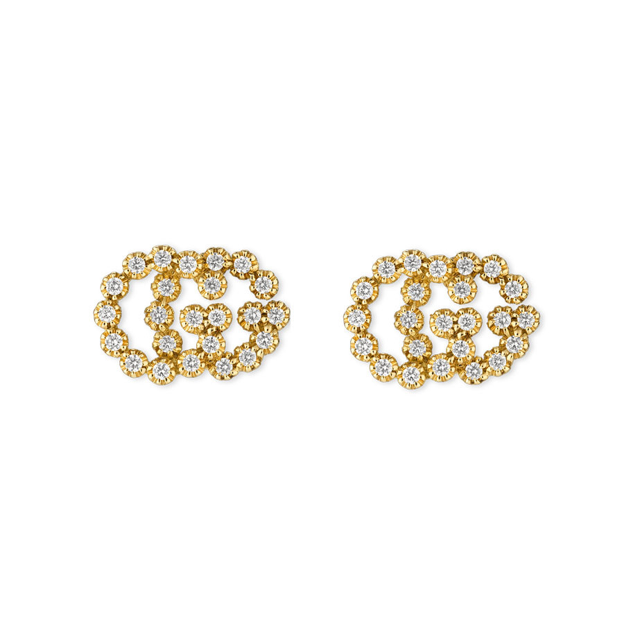 Gucci Running G Diamond Stud Earrings in Yellow Gold