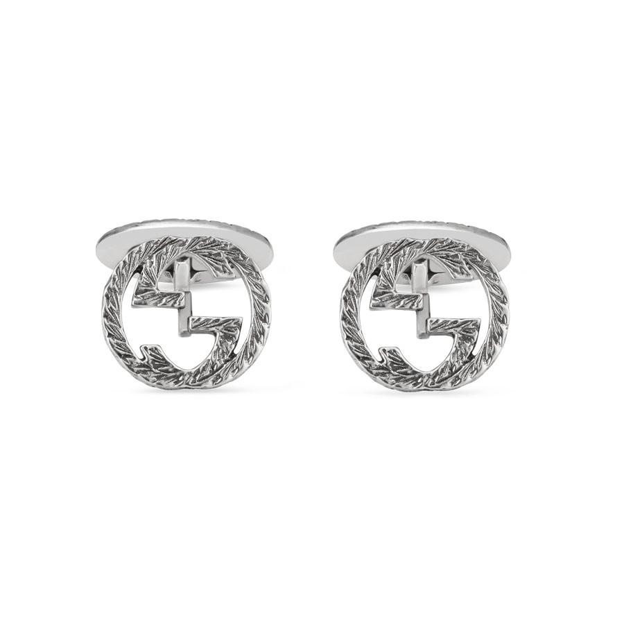 Gucci Silver Textured Interlocking G Cufflinks