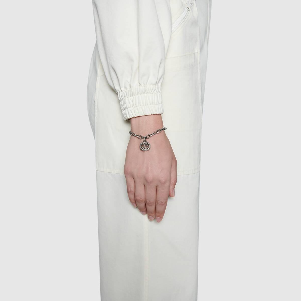 Gucci Interlocking G Charm Link Bracelet in Sterling Silver on model