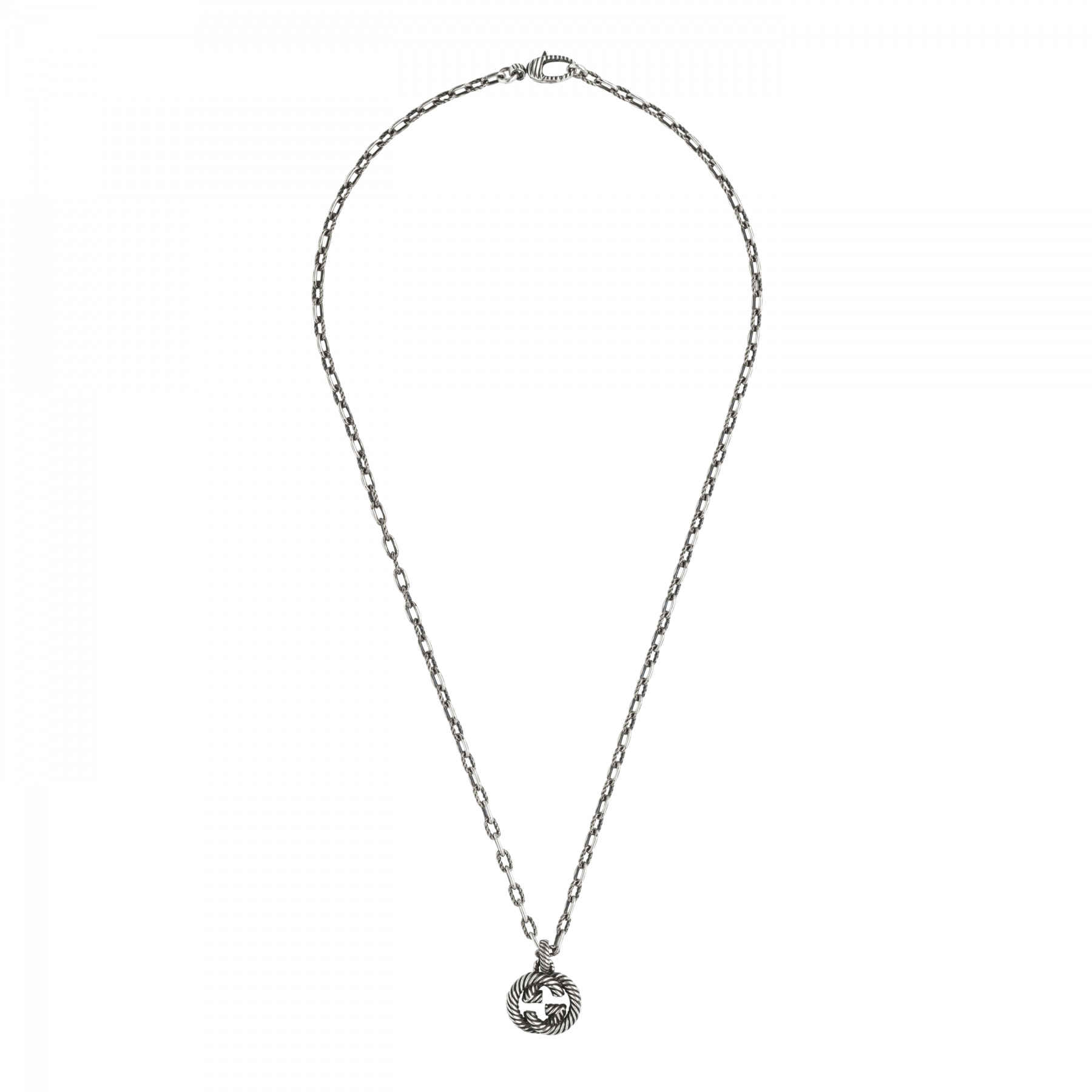 Gucci Interlocking G Long Link Necklace in Sterling Silver main view