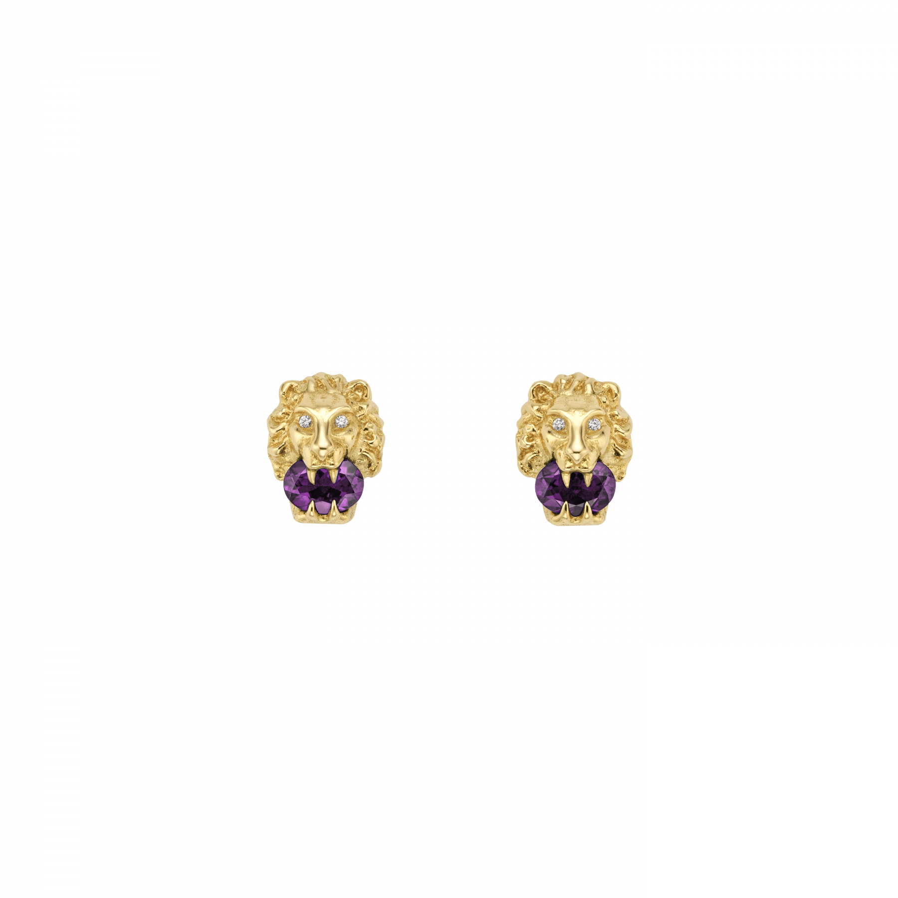 Gucci Lion Head Diamond and Amethyst Stud Earrings in Yellow Gold main view