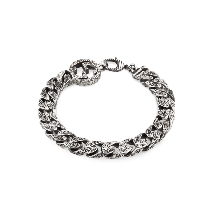 Gucci Interlocking G Sterling Silver Thick Chain Bracelet Main Image