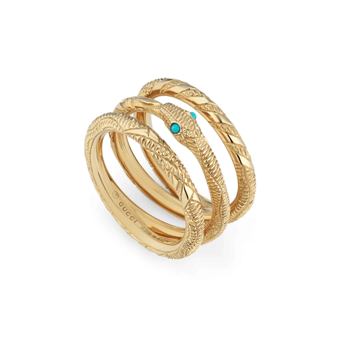 Gucci Ouroboros Three Band 18K Gold and Turquoise Snake Ring main image