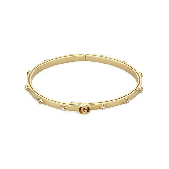 Gucci GG Running 18K Gold Diamond Bangle Bracelet Main Image