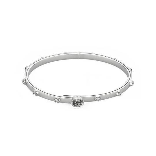 Gucci GG Running 18K White Gold Diamond Bangle Bracelet Main Image