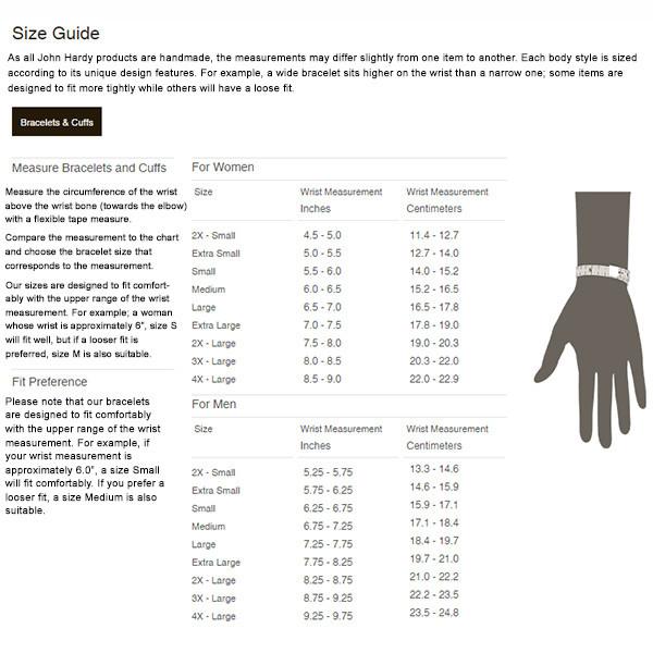 John Hardy Size Chart