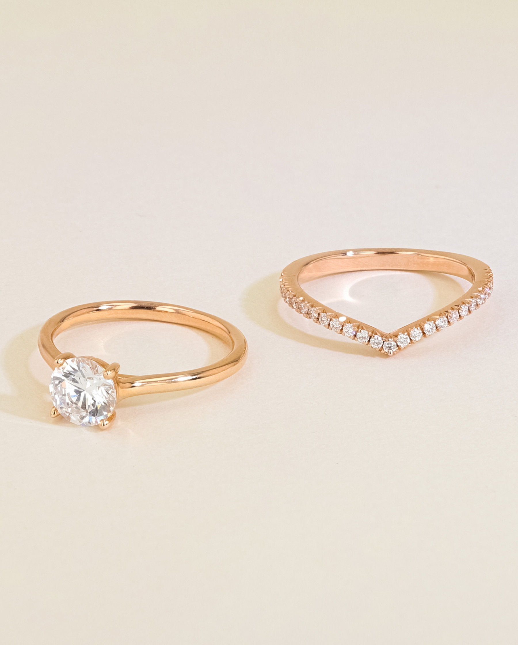 Solitaire Diamond Engagement Ring Set side by side