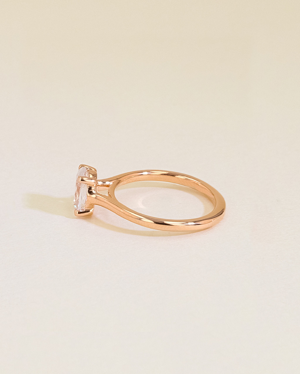 oval solitaire ring side view