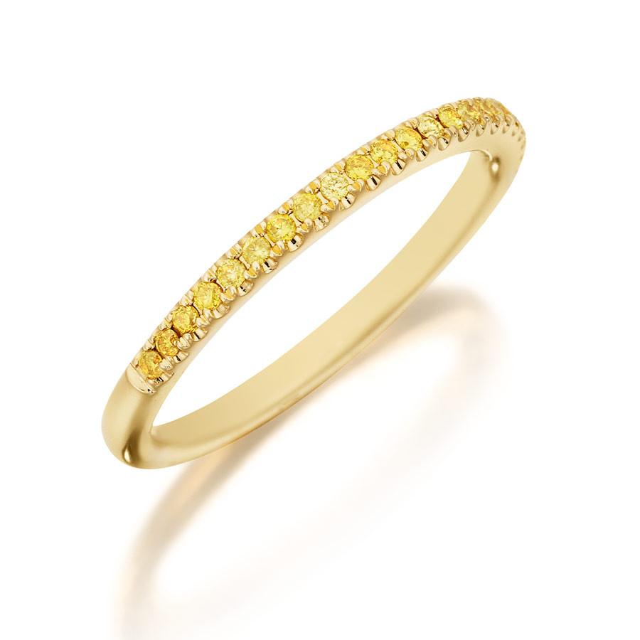 Henri Daussi Yellow Gold Fancy Yellow Diamond Band R1-3 Ring Angle View